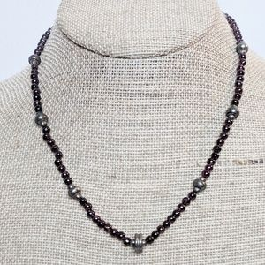 Vintage Garnet Beaded Necklace w/Silver Accents